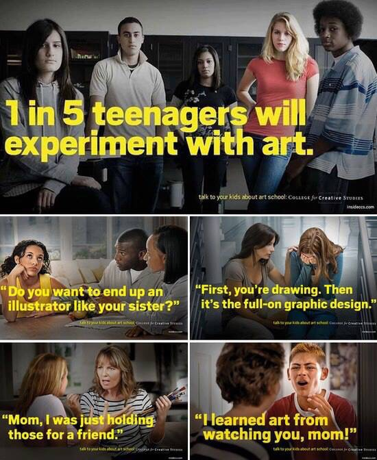 1 in 5 teenagers will experiment with art.