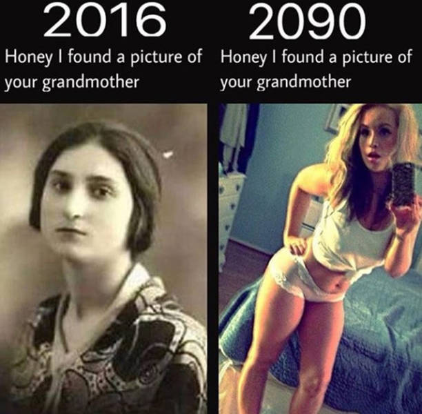 Pictures of grandmother in the year 2016 and 2090.