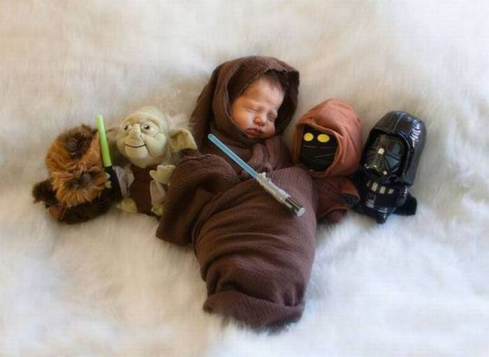 A very young Jedi in training.