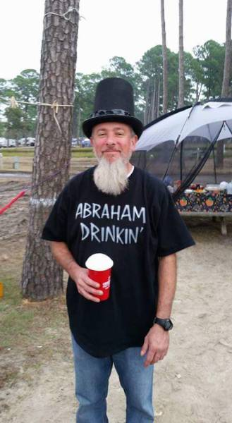 Abraham Drinkin' is a great costume for Halloween, or any other day of the year.