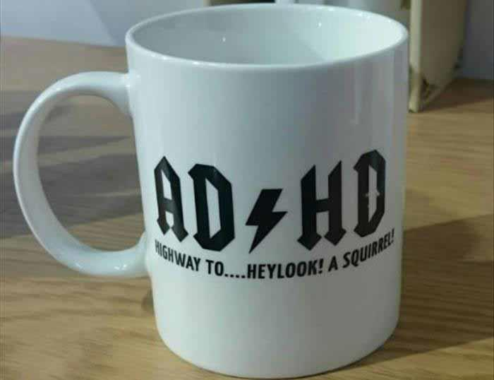 Great coffee mug for your ADHD friend who is an AC/DC fan.