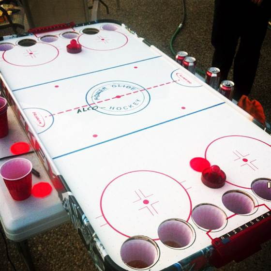 Alcohockey Is The Canadian Version Of Beer Pong.