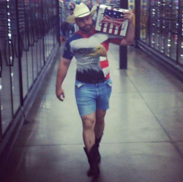 Dressed in a patriotic outfit to buy Budweiser beer from a foreign company.