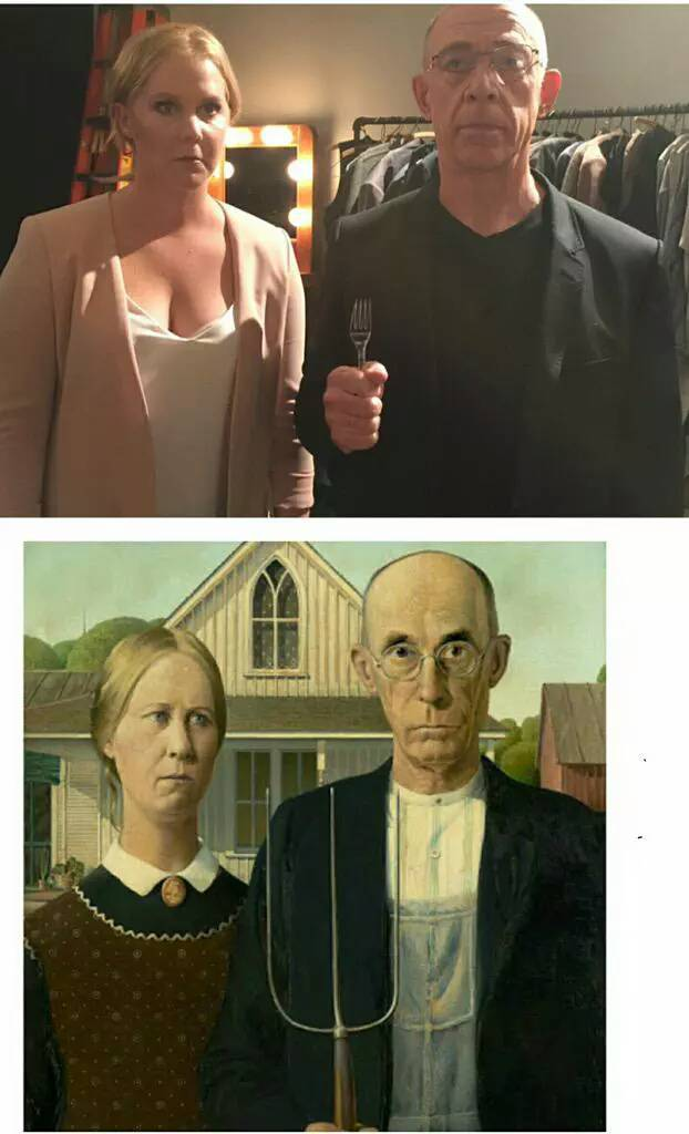 Amy Schumer and J.K. Simmons are dead ringers for the 'American Gothic' painting.