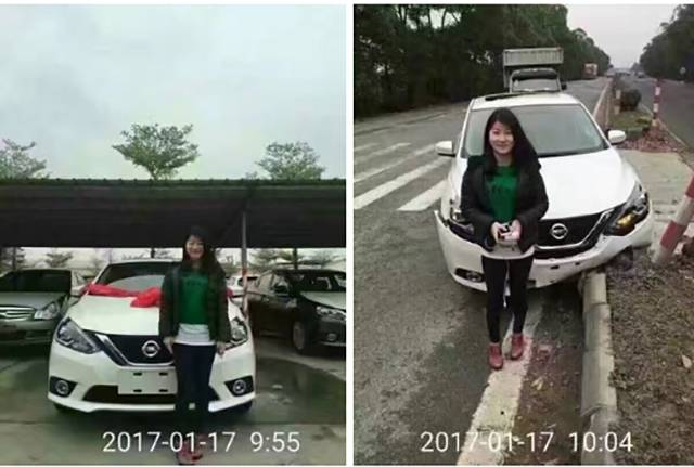 Asian woman gets a new car.