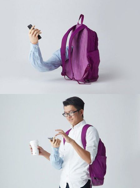 Backpack with a built in extra arm for those smartphone addicts.