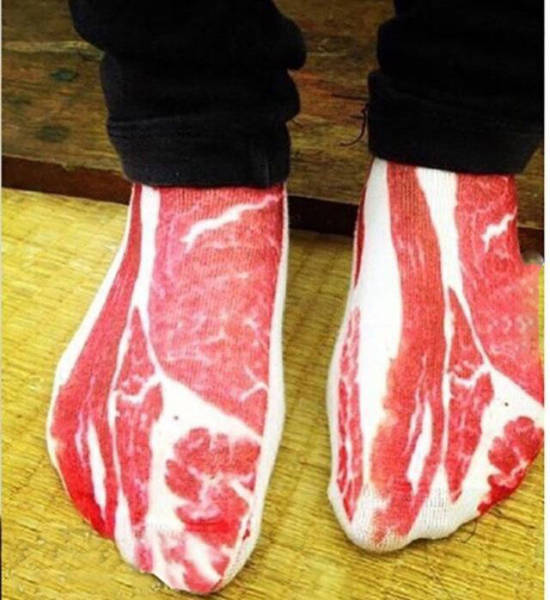 Bacon socks look good enough to eat.