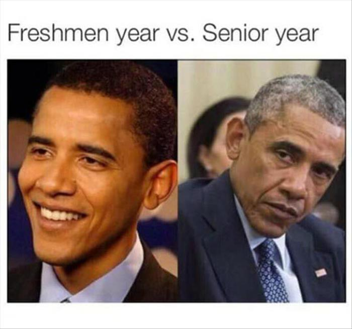 Barack Obama's freshman year vs senior year.