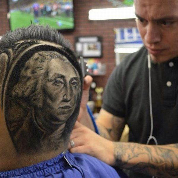 Barber With Amazing Talent. He Trims Up A Perfect Portrait Of George Washington On The Back Of This Guys Head.