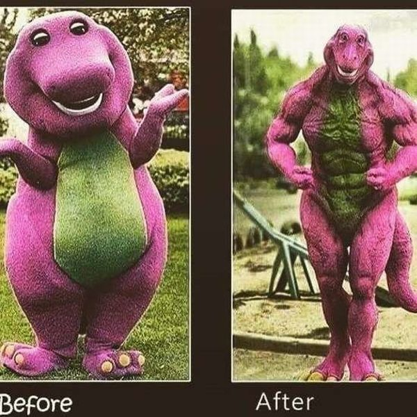 Barney has been really working out and here are his before and after photos to prove it.