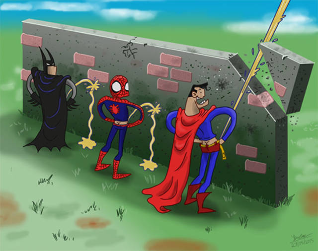 Batman, Spider-Man and Superman in a pissing contest.