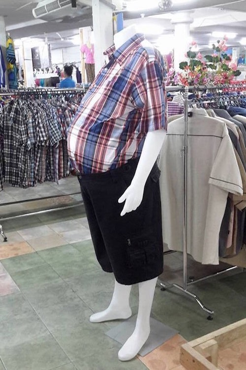 Beer belly mannequins are more realistic.