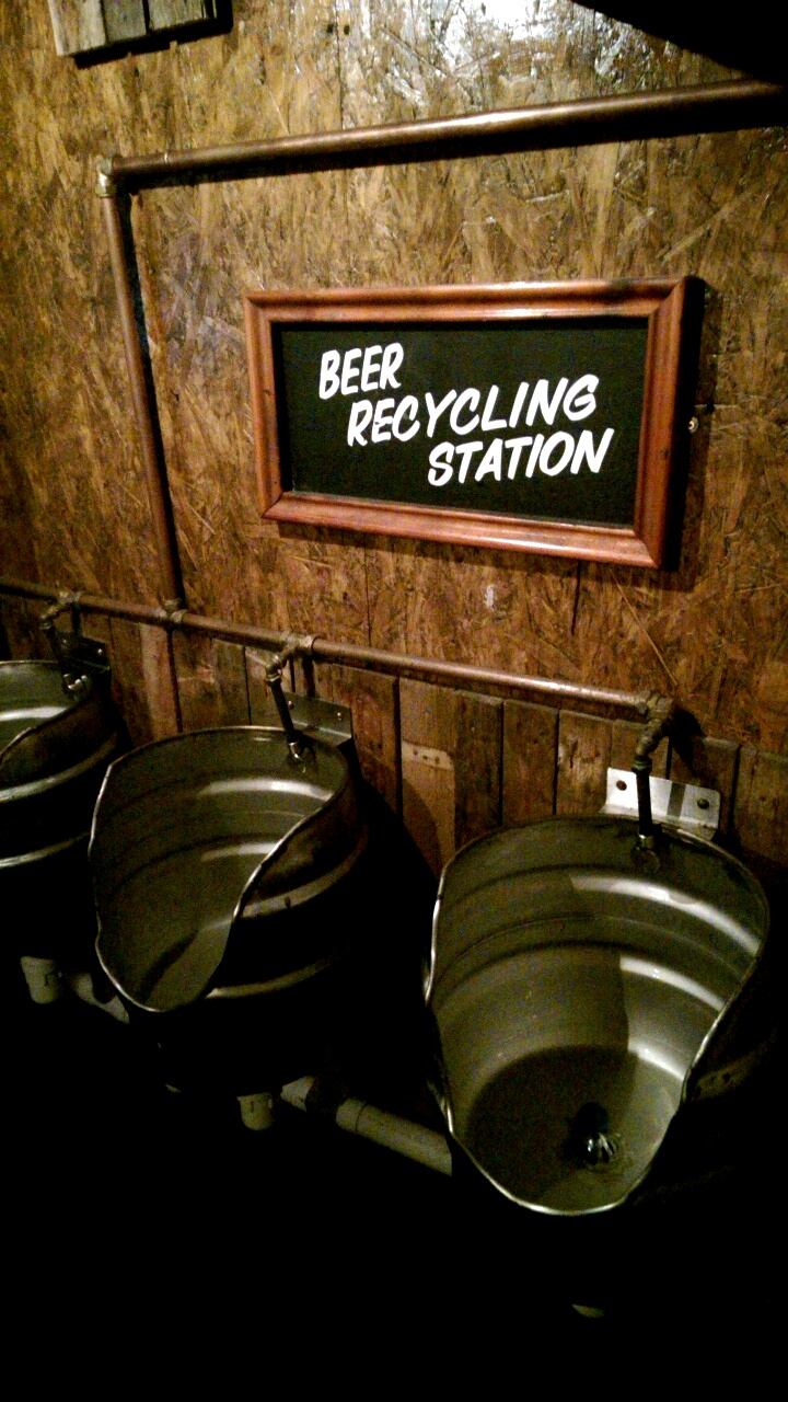 Beer recycling station in this bar can really help increase profit margins.