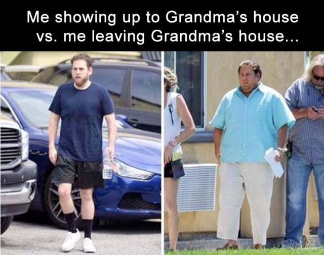 Before and after going to Grandma's house.