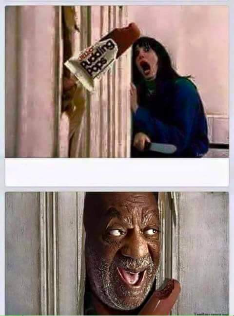 Bill Cosby replaces Jack Nicholson in the famous Here's Johnny scene from 'The Shining.'