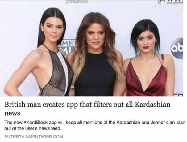 British man creates 'KardBlock' app that filters out all Kardashian news.