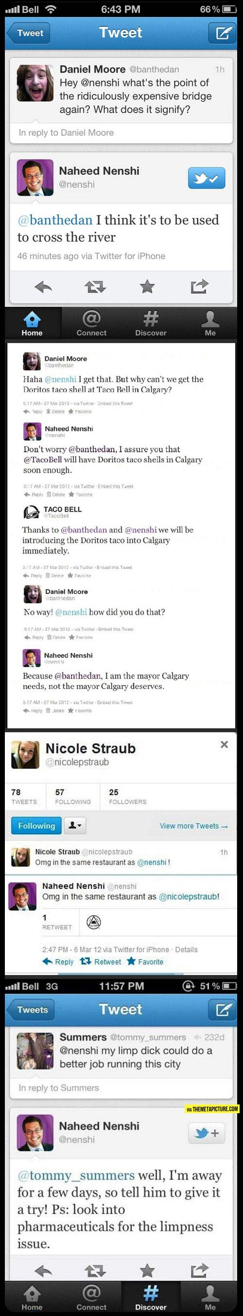 Calgary, Alberta, Canada Mayor Naheed Nenshi is funny.