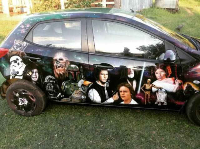 Car with airbrushed Star Wars mural is a total chick magnet.