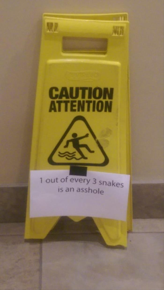 Caution! 1 out of every 3 snakes is an asshole.