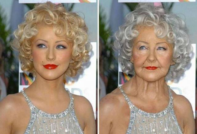 Christina Aguilera as an old woman.