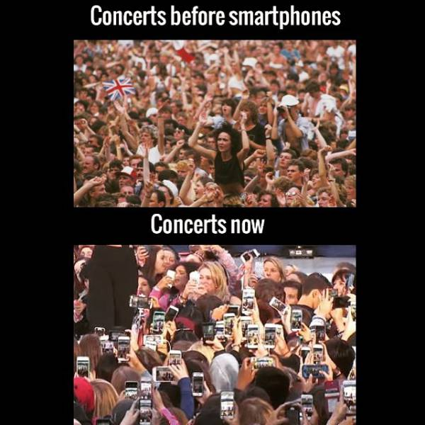 Concerts before smartphones vs. Concerts now