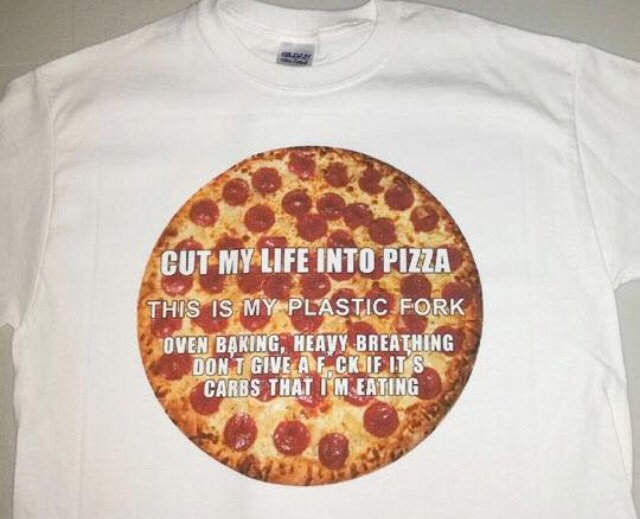 Pizza shirt with lyrics inspired by Linkin Park.