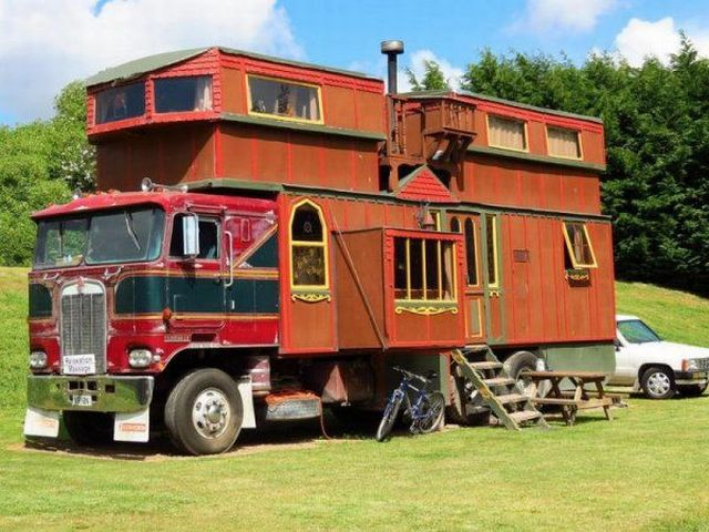 Custom built motorhome is a work of art.