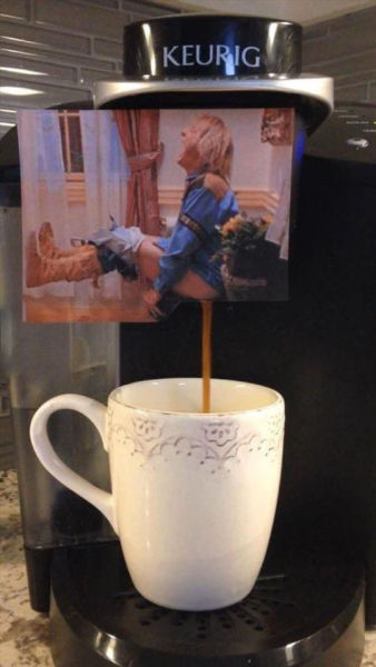 Customized coffee maker inspired by the Dumb and Dumber bathroom scene.