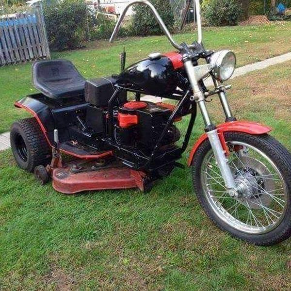 Cutting the grass is fun when riding this motorcycle lawnmower contraption.