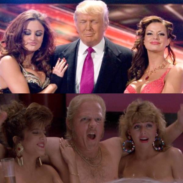 Donald Trump and Biff Tannen hanging with the babes.
