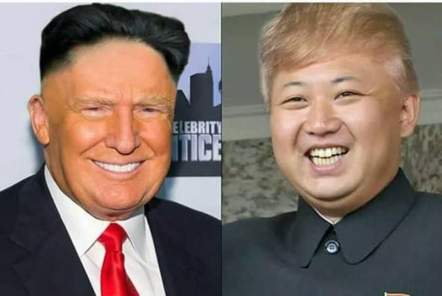 Donald Trump and Kim Jong-un swap hair.