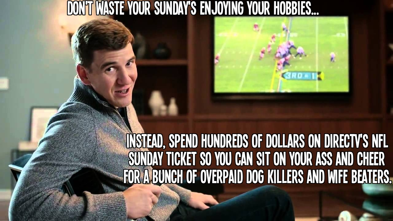 Don't waste your Sunday's enjoying your hobbies, instead get DirecTV's NFL Sunday Ticket.