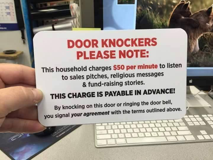 Door knockers please note.