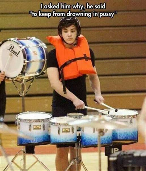 Drummer was asked why he wears a life jacket while drumming.