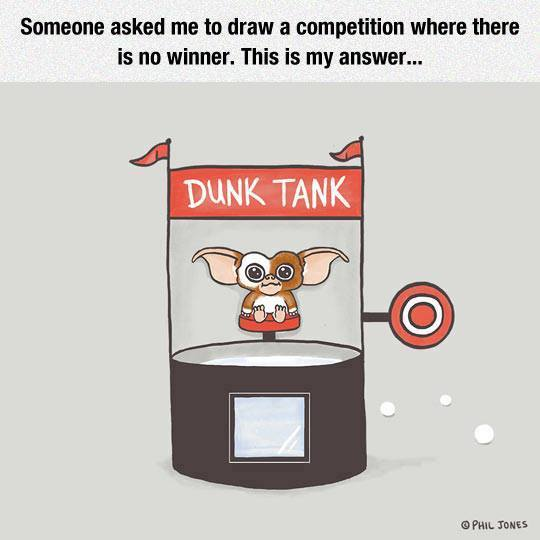 Dunk tank and Gremlin. There is no winner.