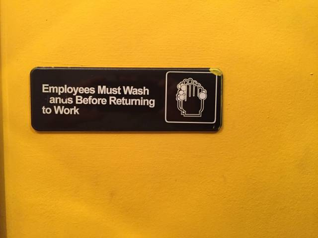 Employees must wash anus before returning to work.