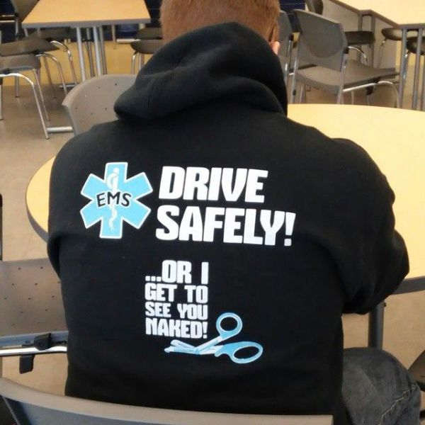 EMS worker reminds you to drive safely.