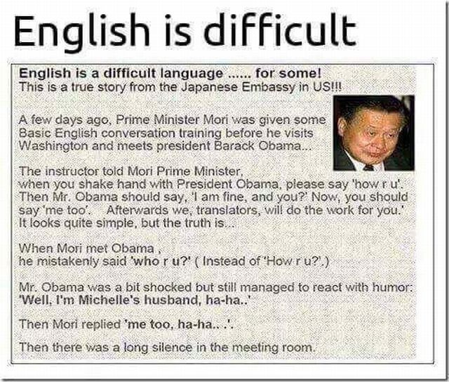 English is difficult.