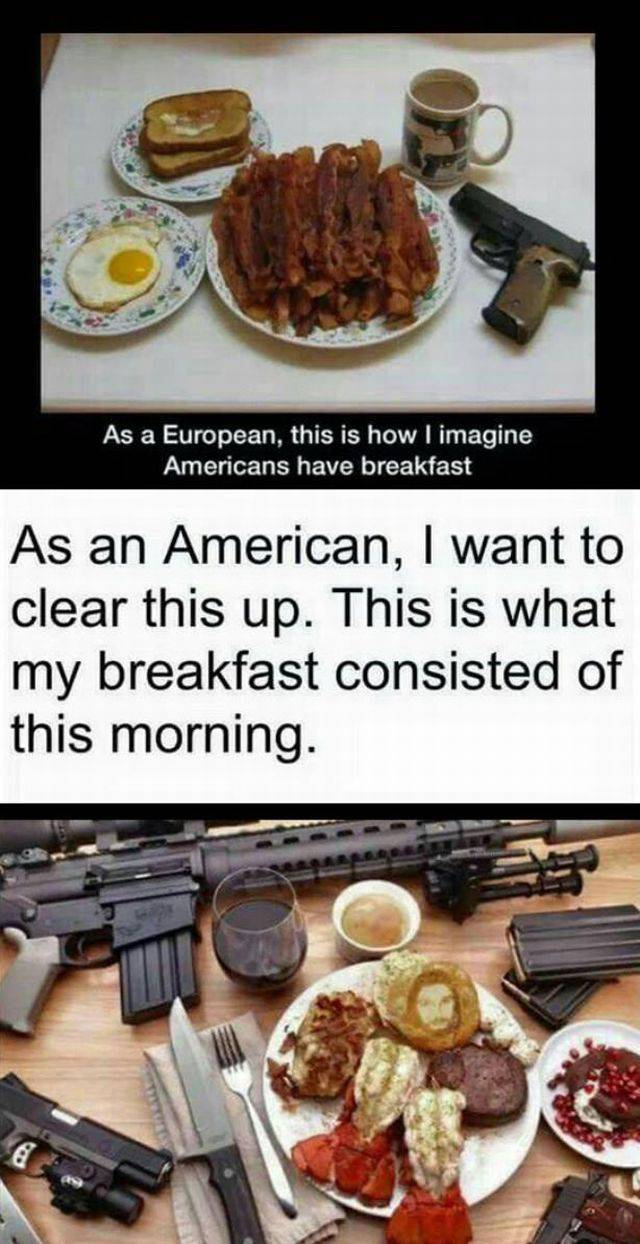 European imagines how Americans have breakfast, with clarification.