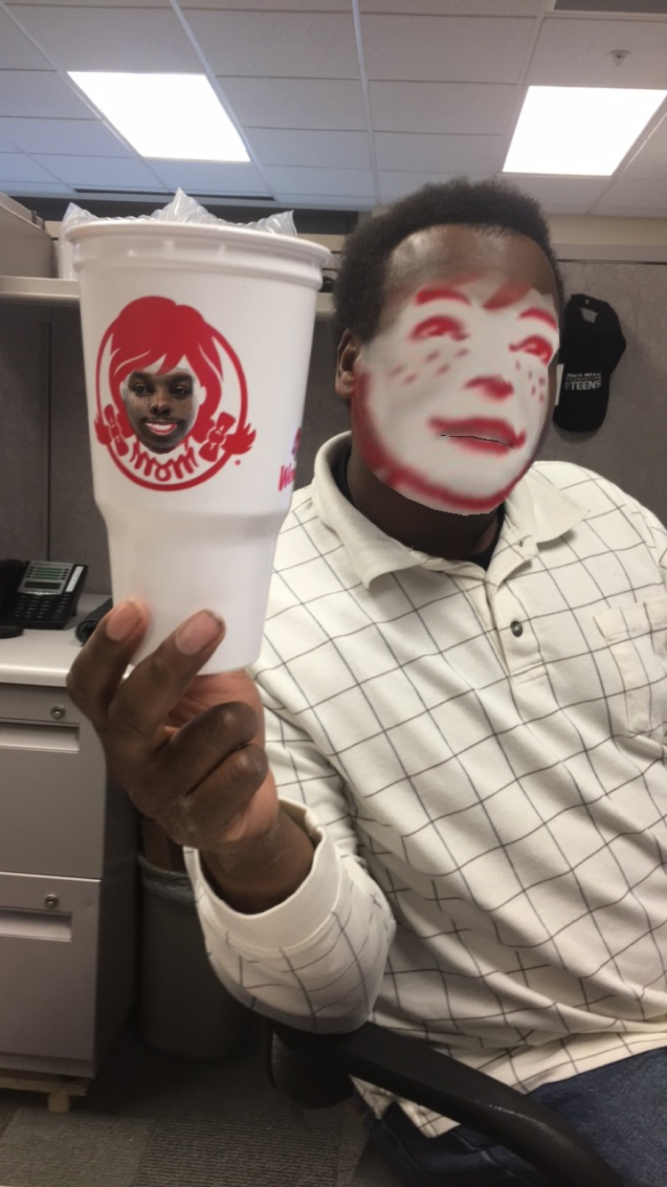 Face swap with Wendy's cup turned out better than expected.