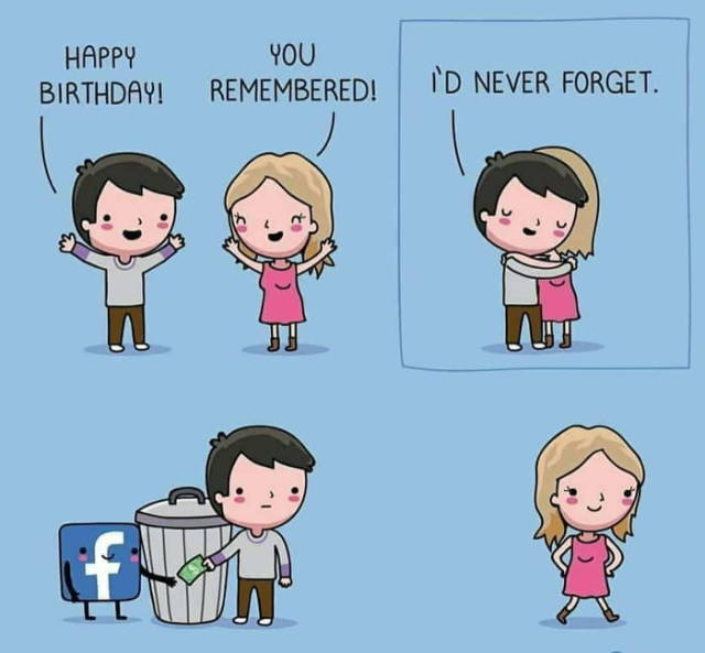 Facebook birthday.