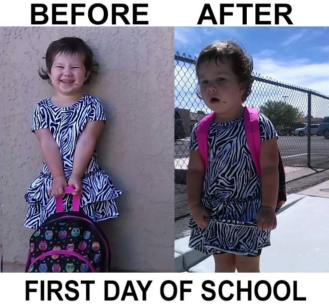 First day of school before and after pics.