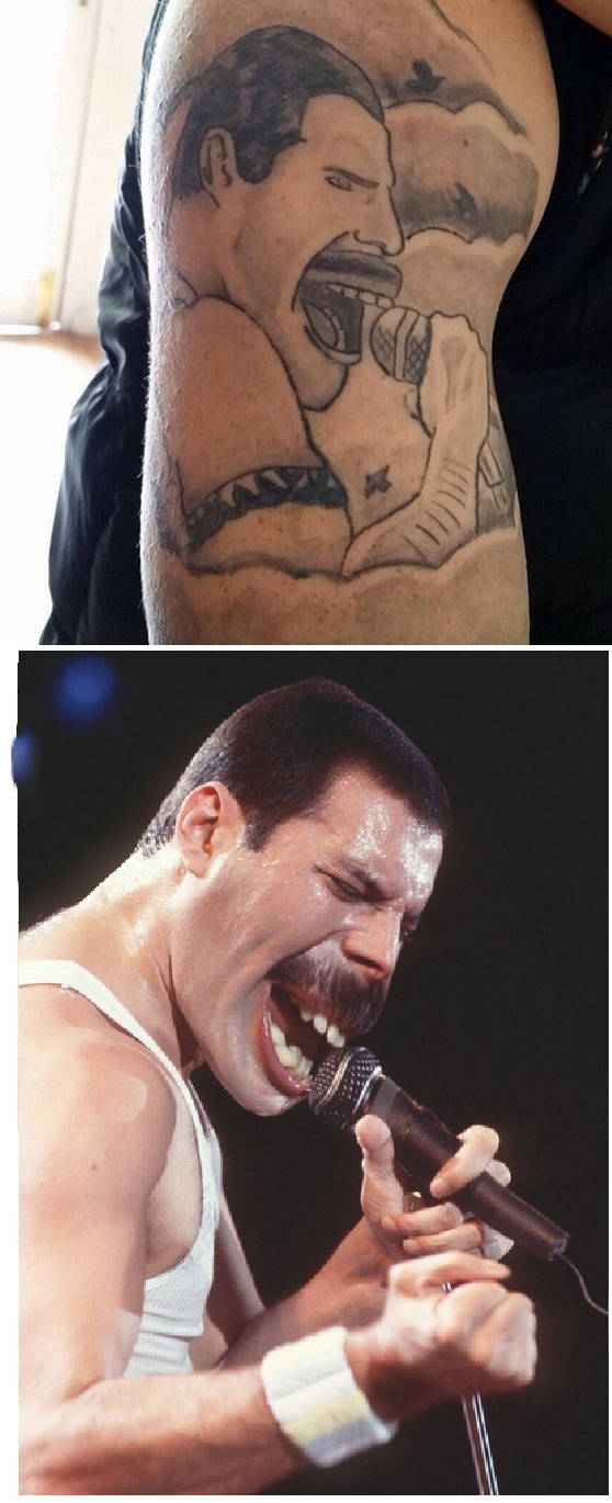 Freddie Mercury from Queen tattoo is a nice tribute but a little off.