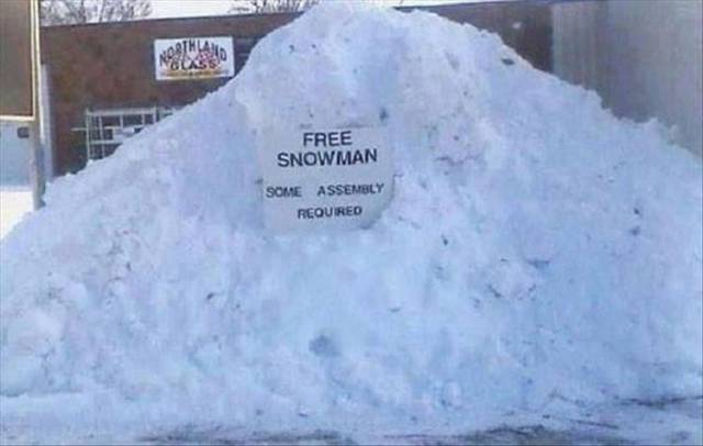 Free snowman. Some assembly required.