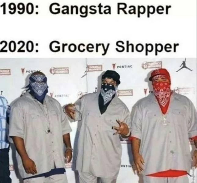 Gangsta rapper turned grocery shopper.