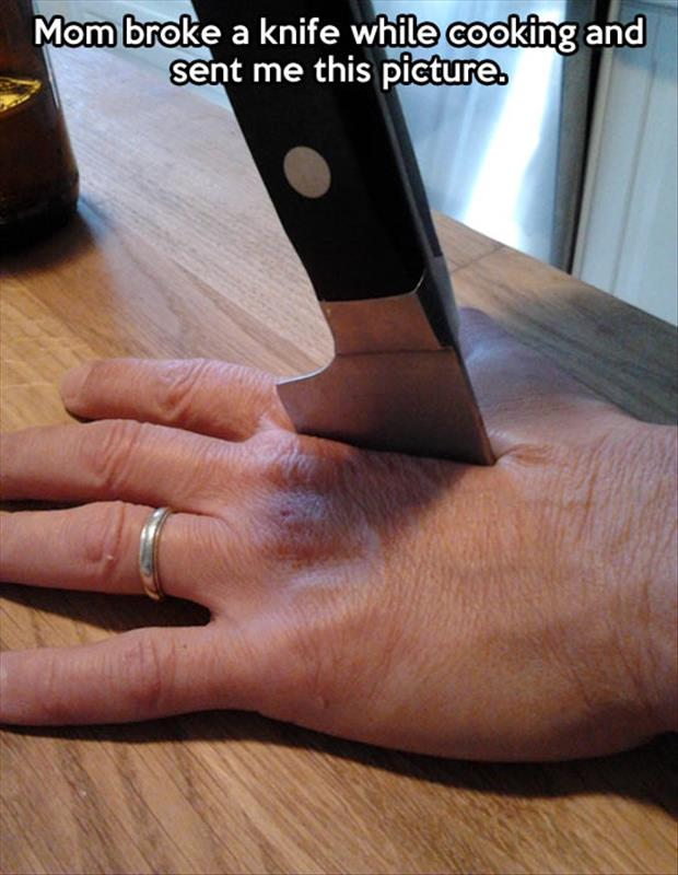 Great prank by Mom with the accidental knife through the hand trick.