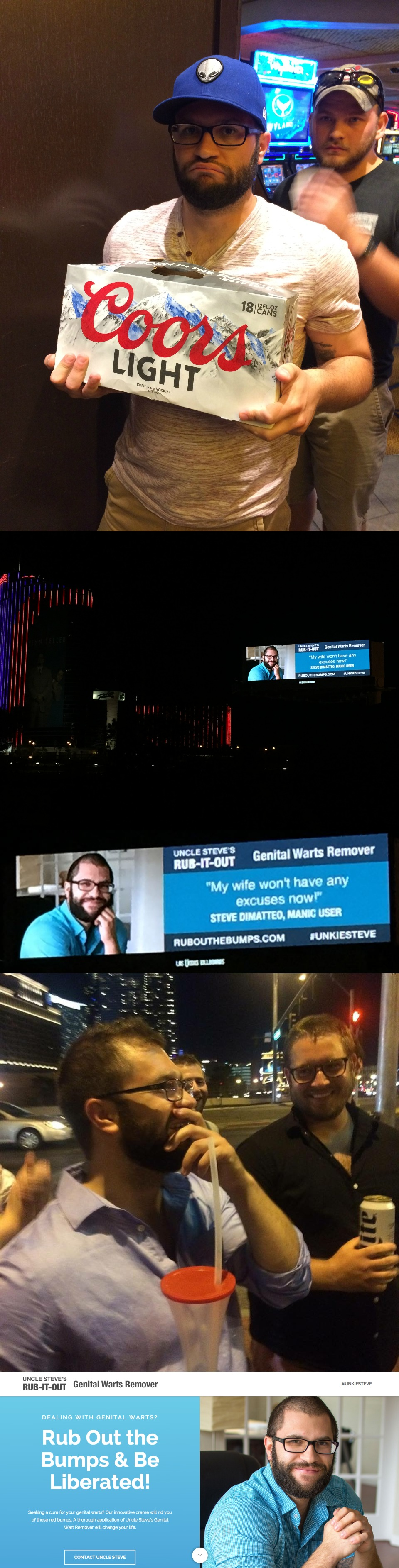 Friends rent billboard on Las Vegas strip for epic bachelor party prank. Congrats UnkieSteve!