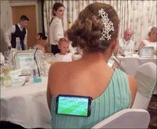 Had to go to a wedding but wanted to watch the soccer game. I love my wife!