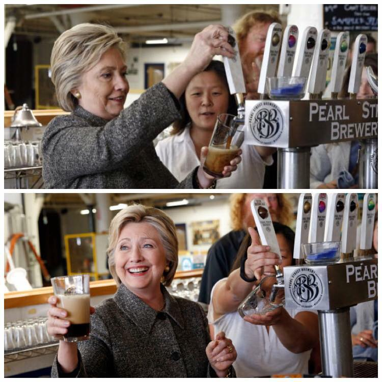 Hillary Clinton can't even pour a beer correctly and she wants to be president?