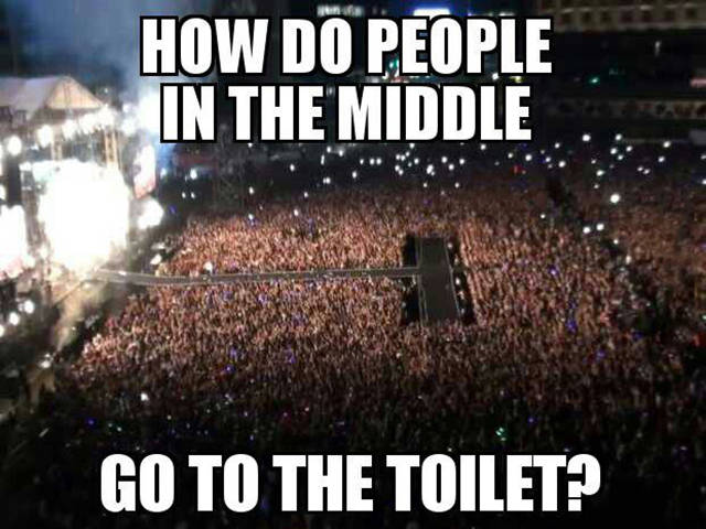 How do people in the middle go to the toilet?